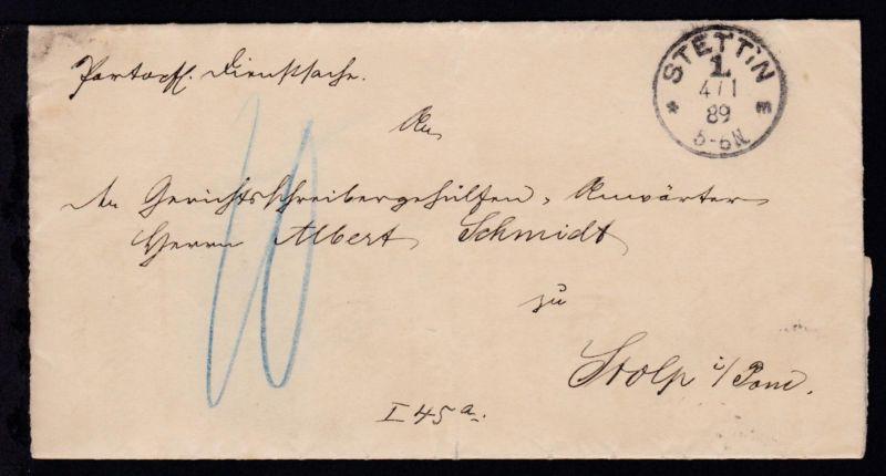Stettin K1 STETTIN 1 *m 4.1.89 auf Dienstbrief des Oberlandesgericht Stettin