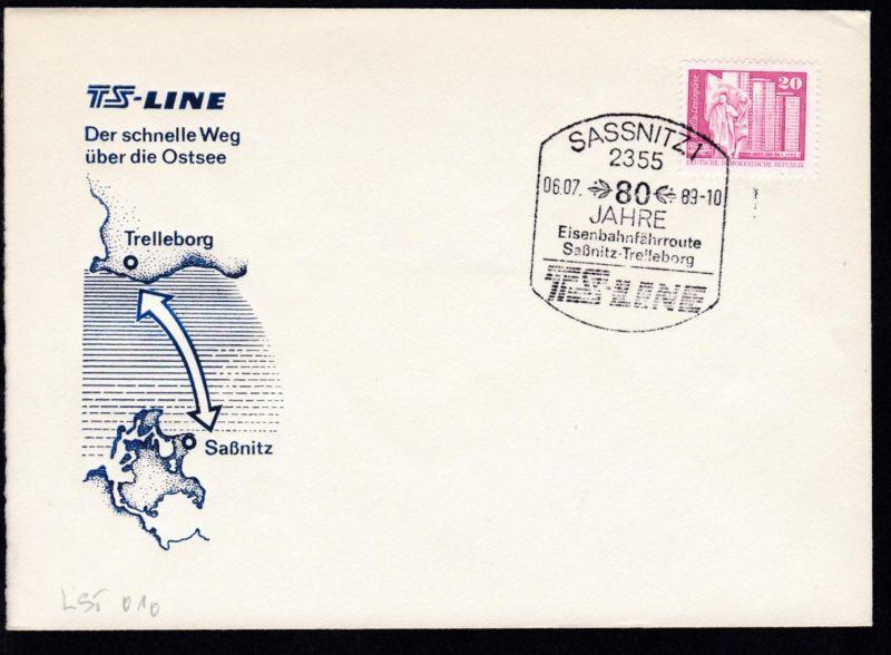 SASSNITZ 1 2355 80 Jahre Eisenbahnfährroute Sassnitz-Trelleborg TS LINE 06.07.89
