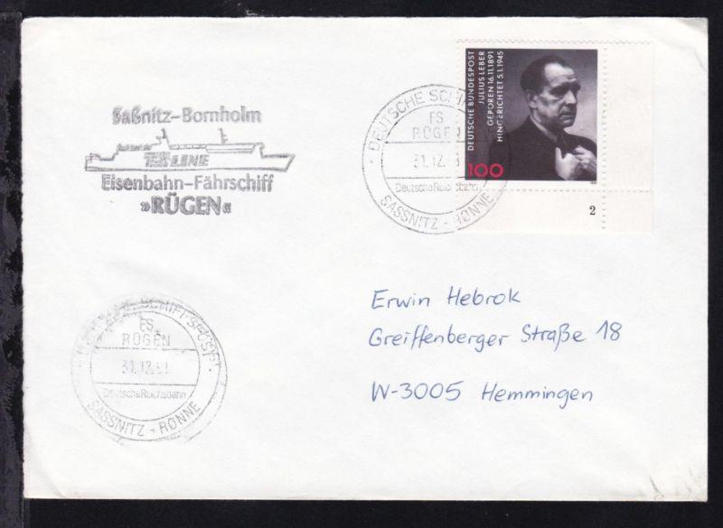 DEUTSCHE SCHIFFSPOST FS RÜGEN Deutsche Reichsbahn SASSNITZ-RÖNNE 31.12.91