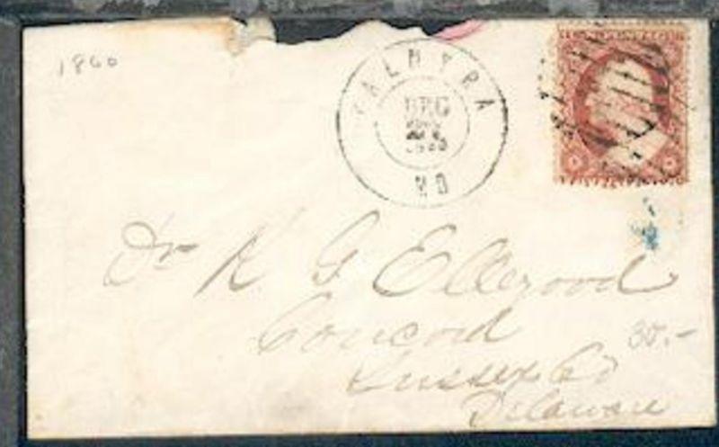 3 C. auf Bf. ab Palmyra/Mo DEC 27 1860 nach Sussex/ Delaware, Bf. rauh geöffnet
