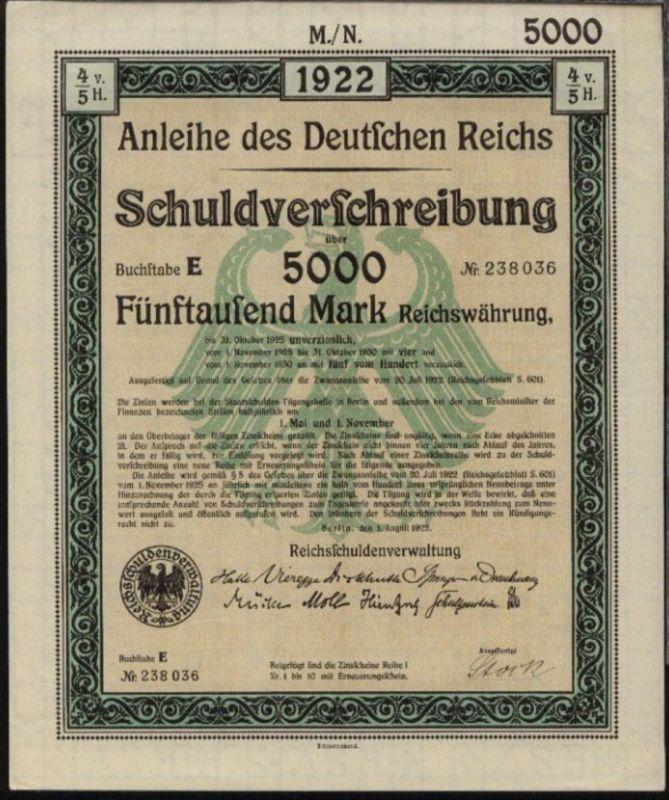 1922 Anleihe des Deutschen Reiches Schuldverschreibung über 5000 Mark