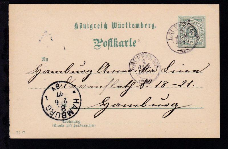 Ziffer 5 Pfg. mit K2 LAUFFEN A/N 1 JUN 1897 nach Hamburg