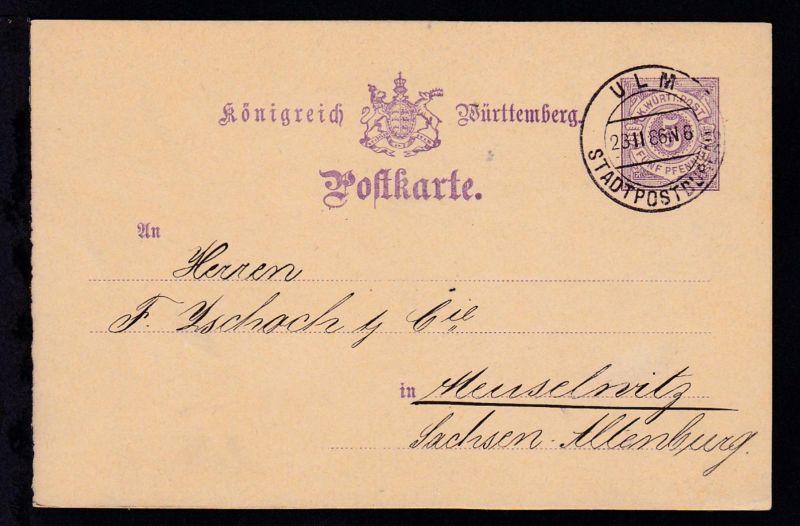 Ziffer 5 Pfg. mit Handstempel ULM STADTPOSTBUREAU 23.II.86 nach Meuselwitz