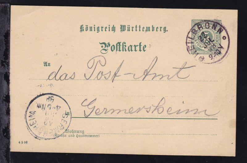 Ziffer 5 Pfg. mit K1 HEILBRONN 22 JUL 98 nach Germersheim