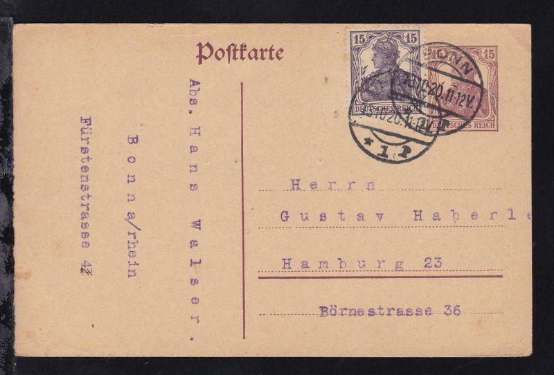 Germania 15 Pfg. mit Zusatzfrankatur 15 Pfg. Germania ab Bonn 13.10.20 nach
