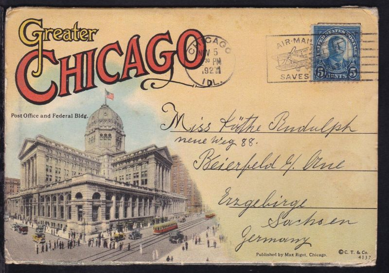 5 C. Roosevelt auf Leporello von Chicago (18 Bilder) ab Chicago NOV 5 1927