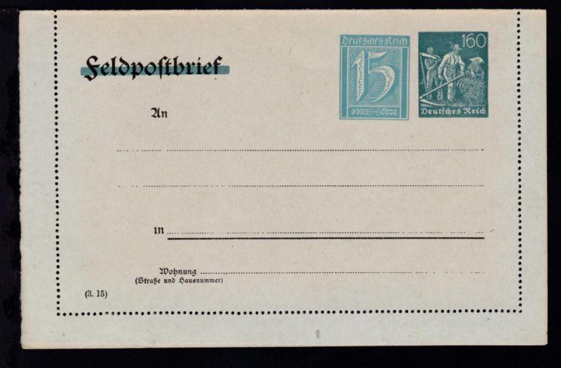 Kartenbrief Arbeiter 160 Pfg./Ziffer 15 Pfg