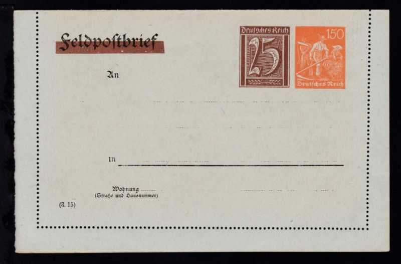 Kartenbrief Arbeiter 150 Pfg./Ziffer 25 Pfg