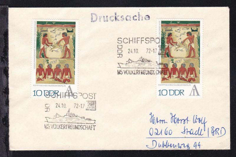 SCHIFFSPOST DDR DSR LINES MS VÖLKERFREUNDSCHAFT 24.10.72 auf Brief