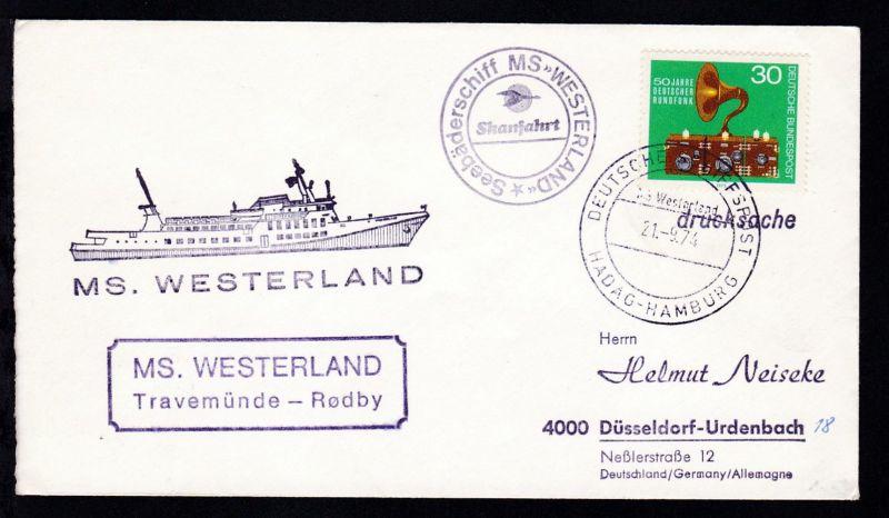 DEUTSCHE SCHIFFSPOST MS Westerland HADAG-HAMBURG 21.9.74 + Cachets auf Brief