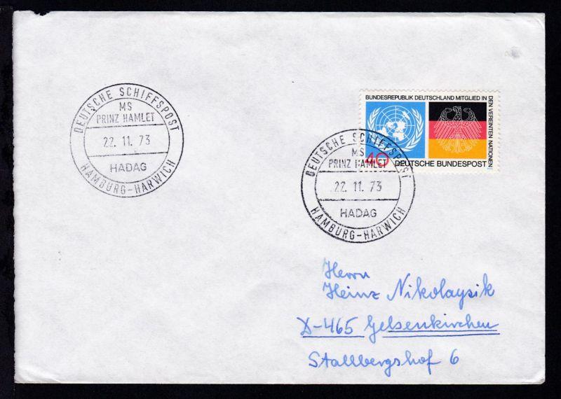 DEUTSCHE SCHIFFSPOST MS PRINZ HAMLET HADAG HAMBURG-HARWICH 22.11.73 auf Brief