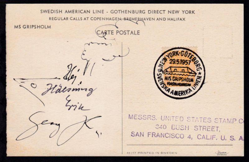 NEW YORK-GÖTEBORG SVENSKA AMERIKA LINIEN M/S GRIPSHOLM FÖRSTA HEMRESAN 29.5.1957
