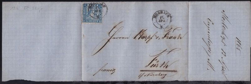 Wappen 6 Kr. auf unvollständiger Briefhülle mit K2 MOSBACH 14 APR +