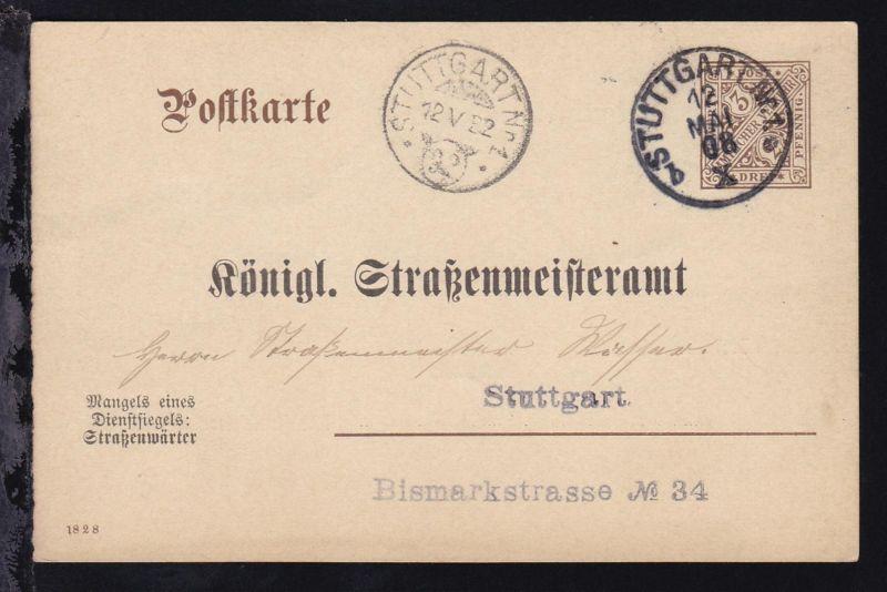 Ziffer 3 Pfg. Dienstpostkarte des Straßenmeisteramt mit K1 STUTTGART Nr. 1
