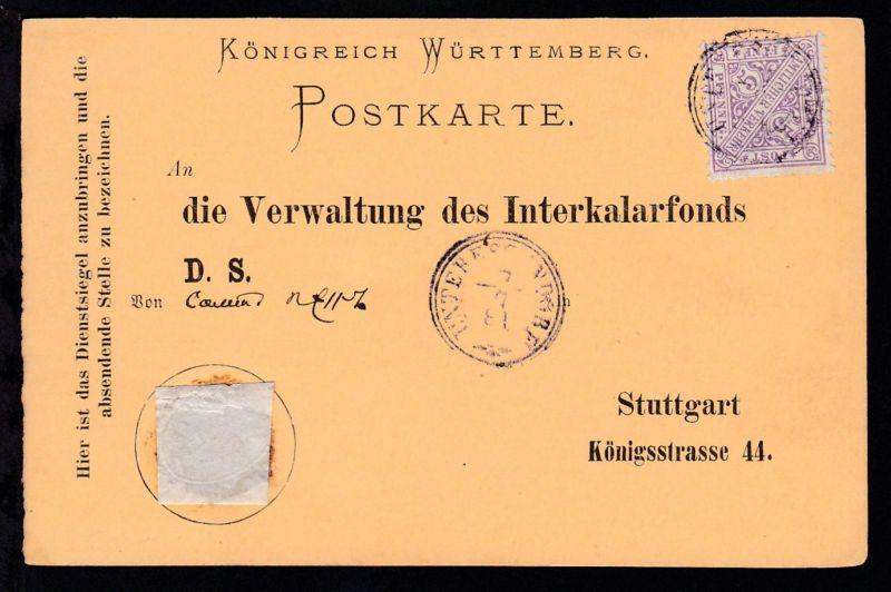 Ziffer 5 Pfg. auf Dienstpostkarte der Verwaltung des Interkalarfonds Stuttgart