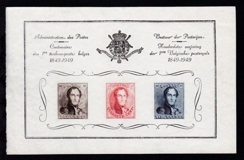 Amtlicher Sonderdruck 100 Jahre Belgische Briefmarken 1849-1949