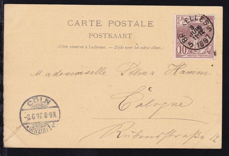 Ausstellung 10 C. auf AK (Laitiere bruxelloise) ab Brüssel 8 JUN 1897 nach Köln