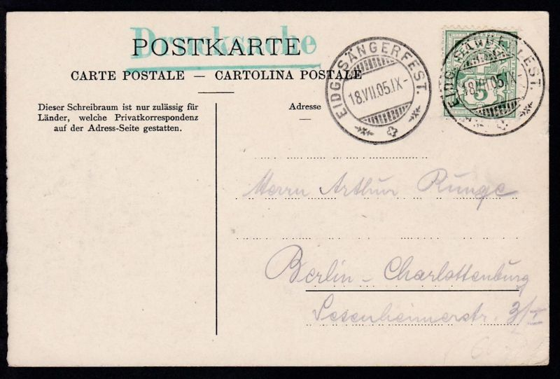 Sonderstempel EIDG. SÄNGERFEST 18.VII.05 auf Officieller Postkarte