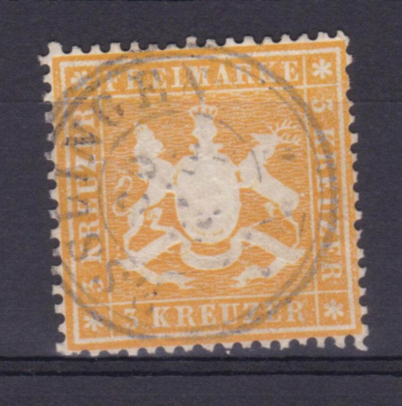 Wappen 3 Kr. mit K3 ESSLINGEN, Marke waager. Bug + kl. Einriss