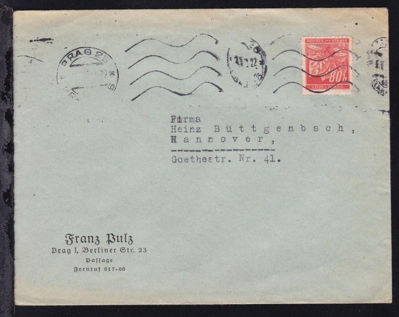 Lindenzweig 80 H. auf Firmenbrief (Franz Pulz, Prag) ab Prag nach Hannover,