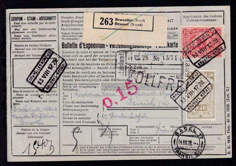 Eisenbahnpaketmarken MI. 134 und 140 auf Paketkarte ab Brüssel 13.8.28