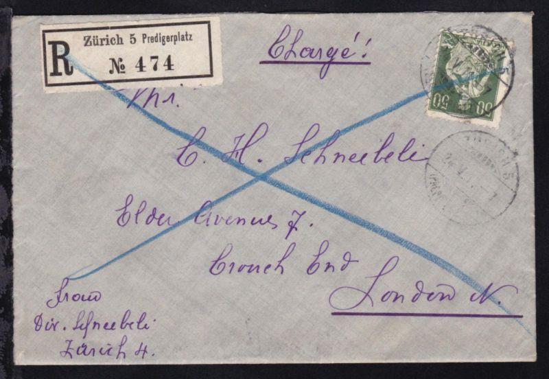 Sitzende Helvetia 50 C. auf R-Brief ab Zürich 5 Predigerplatz 24.V.11