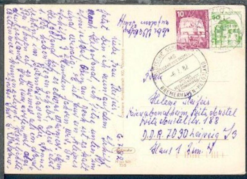 DSP BREMERHAVEN-HELGOLAND MS ROLAND VON BREMEN 6.7.82 auf CAK(Helgoland), Bedarf