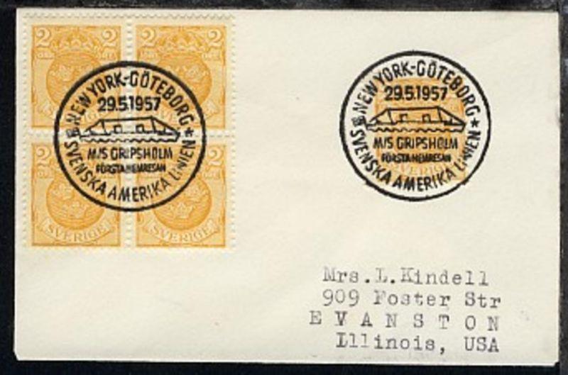 NEW YORK-GÖTEBORG SAL MS GRIPSHOLM FÖRSTA HEMRESAN 29.5.1957 auf Bf.