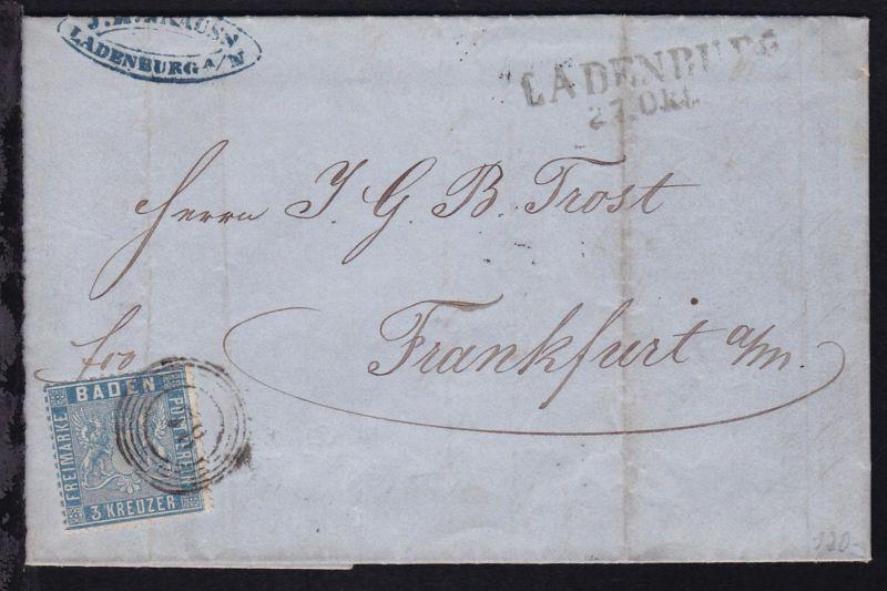 Wappen 3 Kr. auf Brief (Firmenrechnung J.M. Krauss, Ladenburg) mit