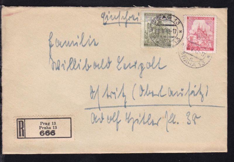 Landschaften 1.20 K und 3 K. auf R-Brief ab Prag 16.V.42 nach Ostritz
