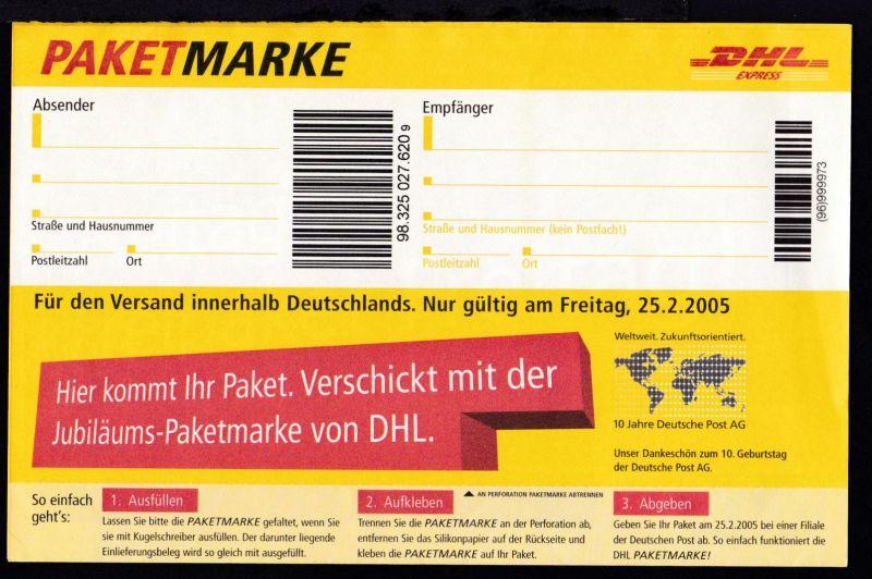 Gratis DHL Paketmarke, nur gültig am 25.2.2005