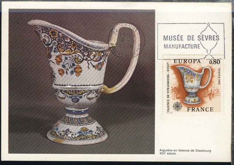 Europa 1976 Kunsthandwerk 0,80 Fr auf Maximum-Karte
