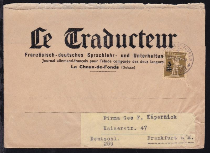 Tellknabe 3 auf 2½  C. auf Zeitungsstreifband (Le Traducteur)