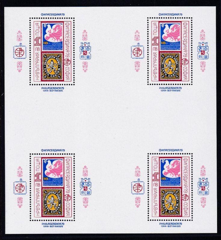 Internationale Briefmarkenausstellung PHILASERDICA 1979, Bogen zu 4 Blocks **