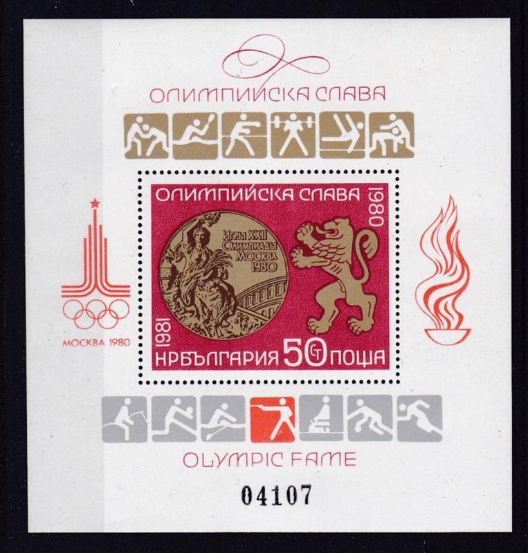 Ehrung der Medaillengewinner bei den Olympischen Sommerspielen Moskau 1980,