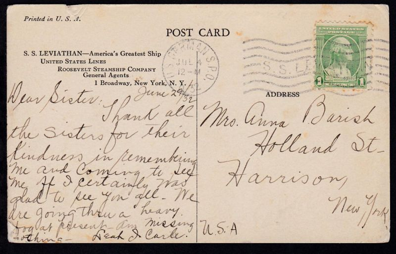U.S. GERMAN S.P.O. JUL 4 1932 SS LEVIATHAN (Maschinenstempel)