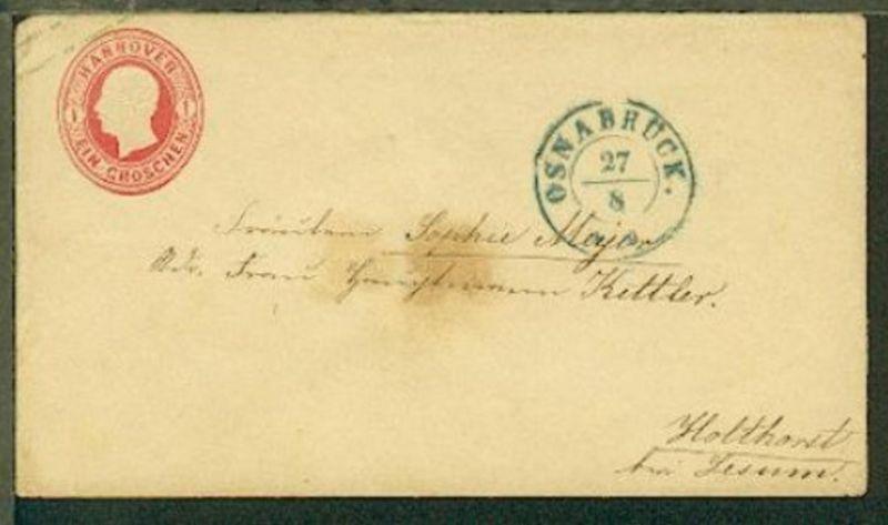 1 Gr. mit K2 OSNABRÜCK 27.8., Bf. Fleck (Siegel-lack durchgefettet)
