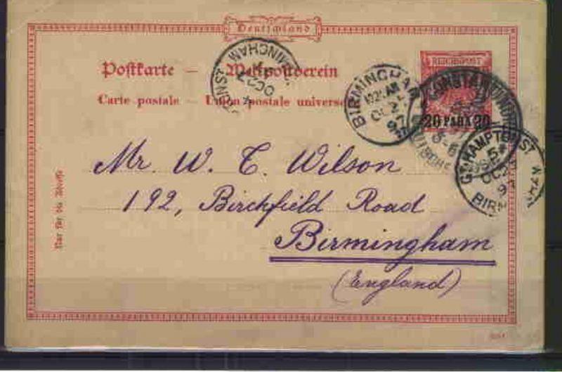 20 Para Typ b mit Stpl. CONSTANTINOPEL 23.10.97 (11) nach Birmingham (England),