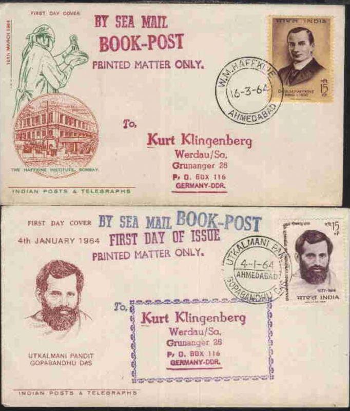1964 2 FDC ab Ahmedabad nach Werdau/Sa. je mit L1 BY SEA MAIL