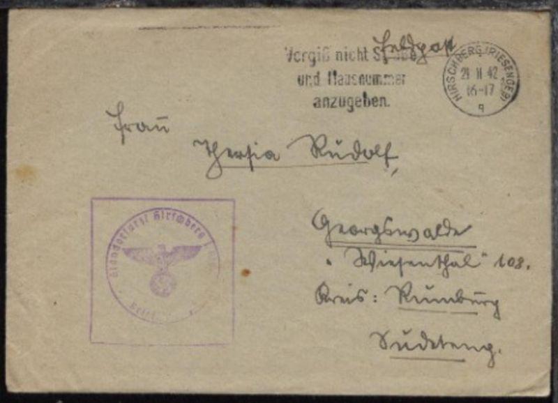 Hirschberg Maschinen-Stpl. HIRSCHBERG (RIESENGEB) q 21.11.42