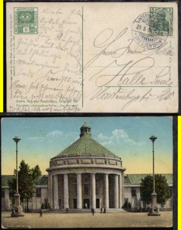 Dresden SSt. INTERN. HYGIENEAUSSTELLUNG DRESDEN 1911 29.8.11
