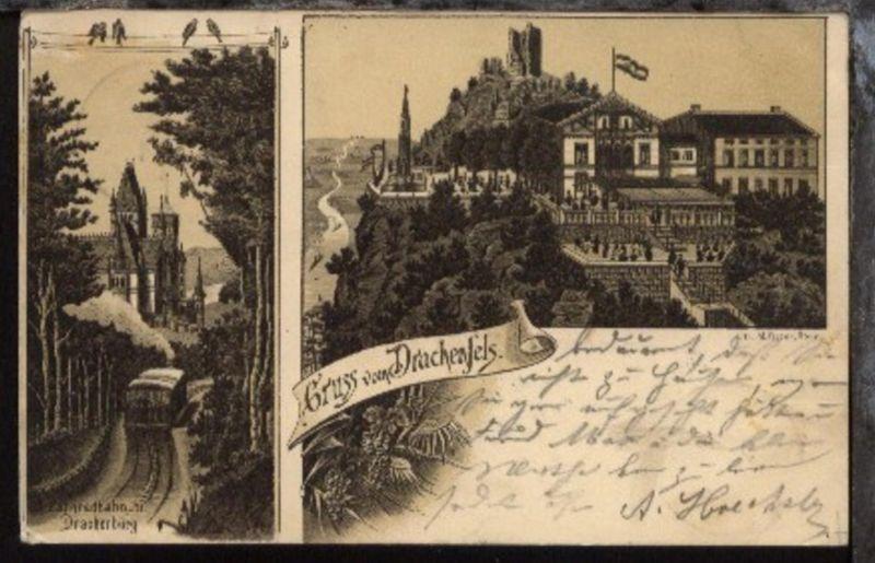 Königswinter (Gruss vom Drachenfels 2 Bilder), 1897