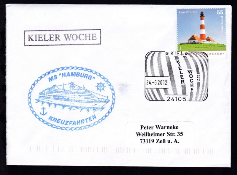 KIEL 24105 KIELER WOCHE 2012 24.6.2012 + R1 KIELER WOCHE + Cachet MS Hamburg