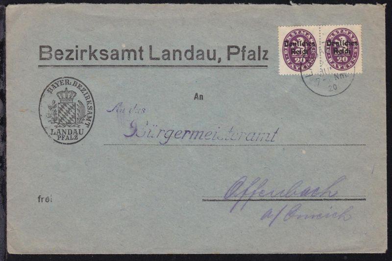Abschiedsausgabe 20 Pfg. waager. Paar auf Brief des Bezirksamt Landau ab Landau