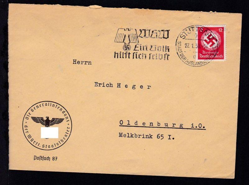 Dienstmarke 12 Pfg. auf Brief der Generalintendanz der Württ. Staatstheater mit