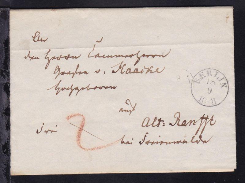 Berlin 1840 K1 BERLIN 18.9. auf Brief an Graf von Hacke nach Alt Ranfft bei