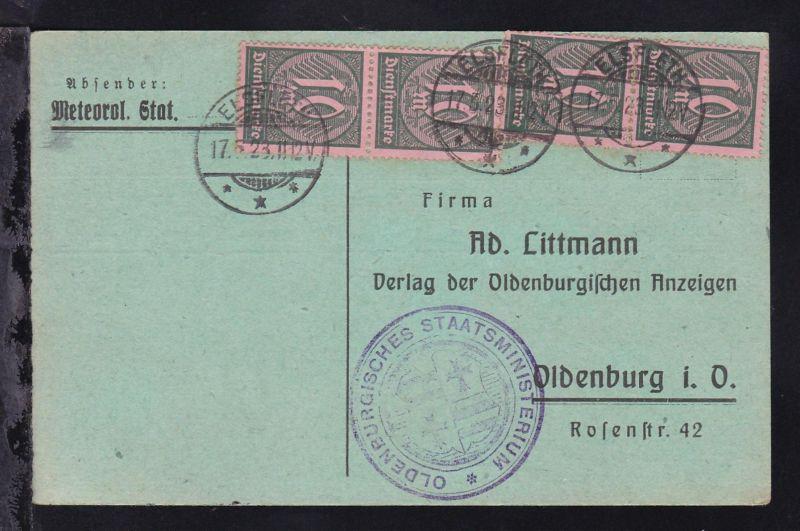 Ziffer 10 M. 2 senkr. Paare auf Dienstpostkarte des Oldenburgischen