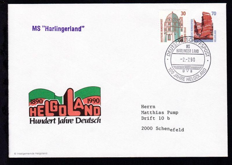 DEUTSCHE SCHIFFSPOST MS HARLINGER LAND DB 100 JAHRE HELGOLAND 2.7.90 +