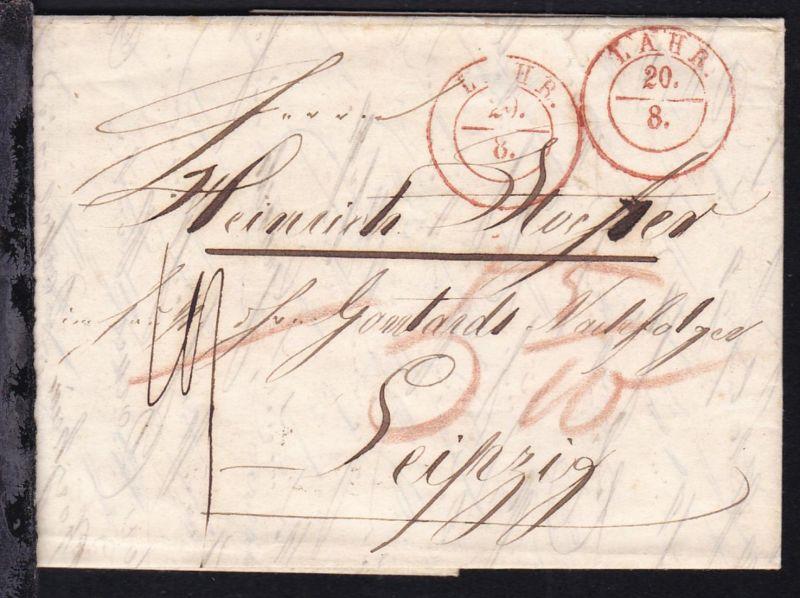 Lahr 1850 K2 LAHR 20.8. auf Brief nach Leipzig