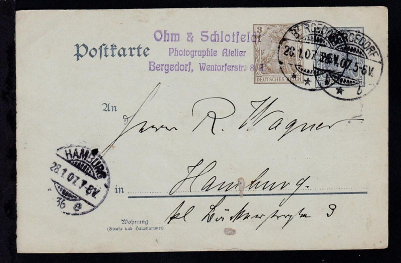 Germania 3 Pfg. neben 2 Pfg. als Firmenpostkarte (Ohm & Schlotfeldt